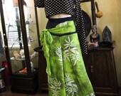 Wide Leg Hawaiian Rayon Print Pants (Green) with Sash