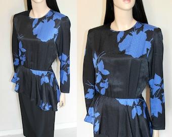 Vintage 1980s does 40s Dress / Simon Ellis /  Southfork Dallas Collection / Dita / Burlesque / Peplum / Chic / Retro Glam / UK12-14 / Medium