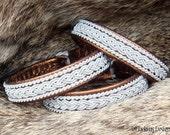 Bronze Nordic Viking Bracelet MJOLNIR Swedish Lapland Sami Bracelet Custom Handmade in Reindeer Leather or Lambskin, Pewter Wire and Antler