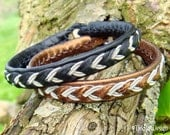 ODIN Black Leather Sami Bracelet - Custom Handmade Norse Mythology Jewelry in Reindeer Leather, Spun Pewter Silver wire and Antler Button
