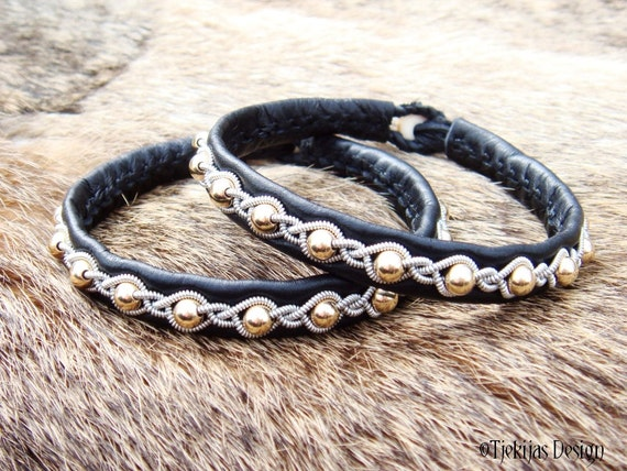 Tjekijas Design Sami Bracelet GJALL Handcrafted Viking Jewelry in Black Reindeer Leather with 14K Goldfilled beads and Antler button