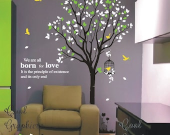 tree decal nursery wall decal vinyl sticker baby girl nursery wall decal children wall decor - Large Tree with birds and cage