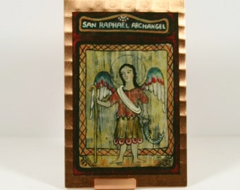 Raphael Archangel Retablo Mini Print on Copper