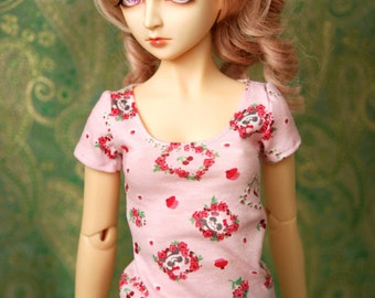 BJD Clothes Pink Cherry Panda T Shirt For SD Dolls