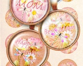Dragonfly lotus flower mother's day bottle cap images 4x6 inch digital collage sheet 1 inch round images printable downloads