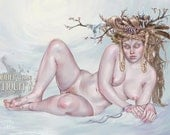Frøja, Winter Queen of Norway Freya Norse Goddess Norge Original Illustration Print by Miss Tak- Three Sizes Available