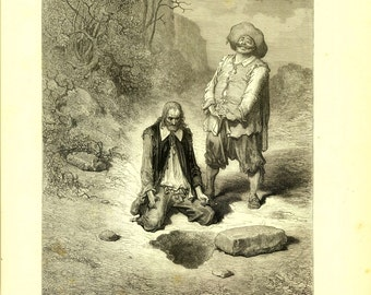 Dore Engraving, Fables of La Fontaine,1885 Antique Print The Miser Who Had Lost His Treasure