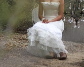 a Love for Champagne / Wedding Gown Skirt / Silk /Cowgirl // Rustic Country / Lace // Ruffles // Champagne and White / Custom // OOAK