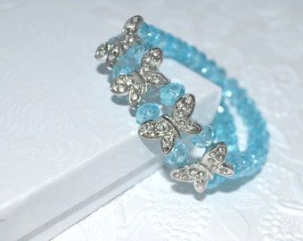 CLEARANCE SALE Aqua Blue Crystal with Butterflies Double Strand Bracelet Hand-Beaded Stretchy Fits All