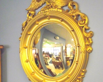 Shiny Gold Syroco Federal Bulls Eye Mirror with Eagle - Large