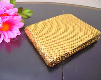 Vintage Whiting & Davis Co Gold Mesh Metal Evening Wallet Billfold UNUSED :) - Treasury Item