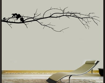 "Decorative Tree Branch - 12.5""x48"" Sticker - Removeable wall art Childrens boys room Matte Coconut Black Home Decor"