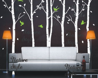 Birch Tree Decal with Flying Birds Birch trees forest kids children Nursery Birch Trees Vinyl boy girl Room-6 Birch Tree with Flying Birds
