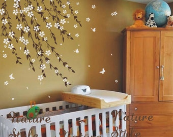 vine flowers with butterfly -Floral cherry wall decal nursery decals tree vinyl wall decals kids wall mural vine white flower cherry blossom