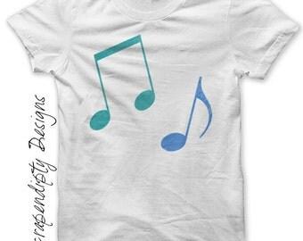 Iron on Music Shirt PDF - Treble Clef Iron on Transfer / Music Notes Wall Art / Toddler Boys Notes Shirt / Blue Musical Tshirt / DIY IT315