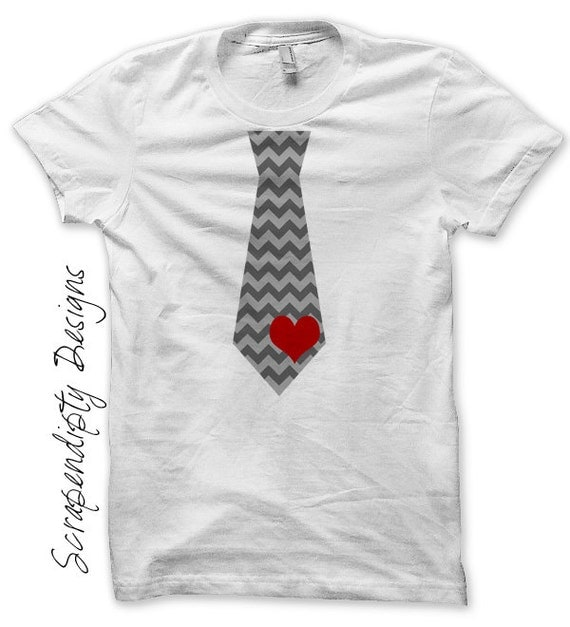 Iron on Tie Shirt PDF - Valentines Day Iron on Transfer / Baby Boy Valentine Outfit / Chevron Tie With Heart Kids / Toddler Heart Ties IT92H