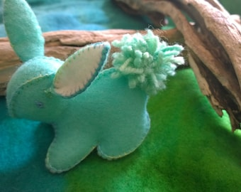 Bunny Rabbit in Soft Mint Felt