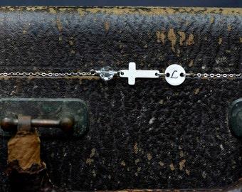 Silver Initial Bracelet | Sideways Cross Birthstone Jewelry