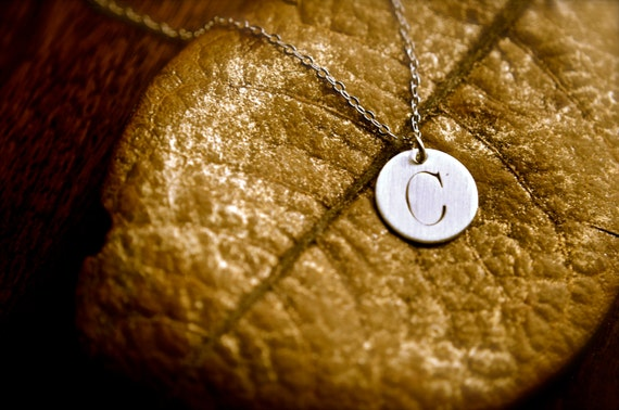 Large Stamped Initial Disc Necklace - Sterling Silver Personalized Gift