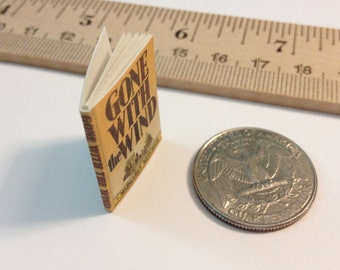 SALE - Miniature Vintage Book / Gone With the Wind by Margaret Mitchell / Tiny Book with real blank pages / 1:6 scale / playscale for Barbie
