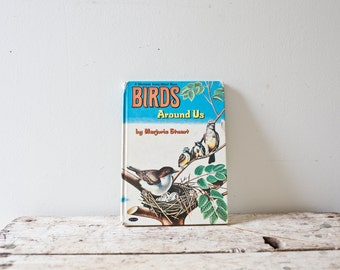 Vintage Illustrated Birds Book - Birds Around Us - Illustration Instructional Book Vintage Birds Colorful Vintage Book