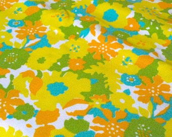 "Vintage Fabric - Flowers - Bright Orange, Aqua & Yellow - 34""L x 44""W - 1960's - Retro - Sewing Material - Craft Supply - Yardage"