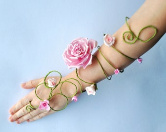 pink flower arm cuff slave bracelet arm wrap for bride, bridesmaids, flower girls whimsical fairy woodland costume