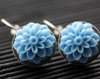 Cornflower Blue Dahlia Flower Earrings. French Hook Earrings. Powder Blue Flower Earrings. Lever Back Earrings. Handmade Jewelry.