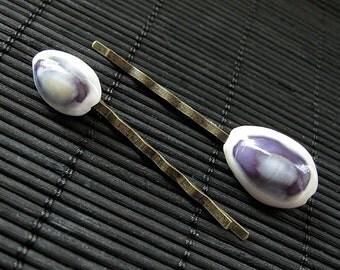 Set of Two Blue Seashell Bobby Pins. Blue Seashell Hair Pins. Blue Shell Bobby Pins. Blue Shell Hair Pins. Handmade Hair Accessories.