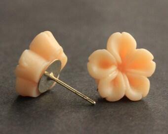 Apricot Flower Earrings. Apricot Earrings. Silver Post Earrings. Innie Flower Button Jewelry. Stud Earrings. Handmade Jewelry.