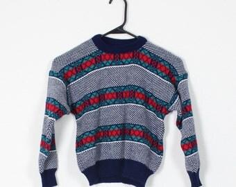 SALE Vintage Retro Youth Kids Striped Sweater Kids Size 7