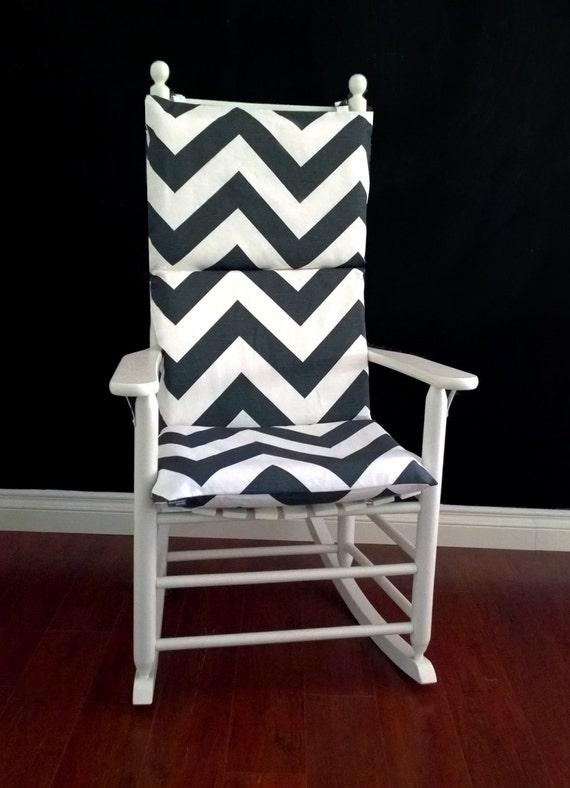 Rocking Chair Cushion Charcoal White Zippy by RockinCushions