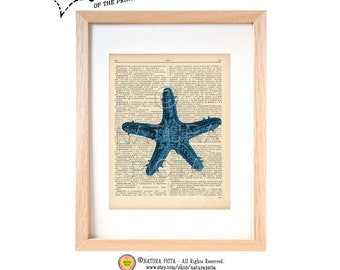 Blue starfish dictionary print -coastal art print-sea star on book page-Sea life print-Upcycled Vintage Dictionary page - by NATURA PICTA