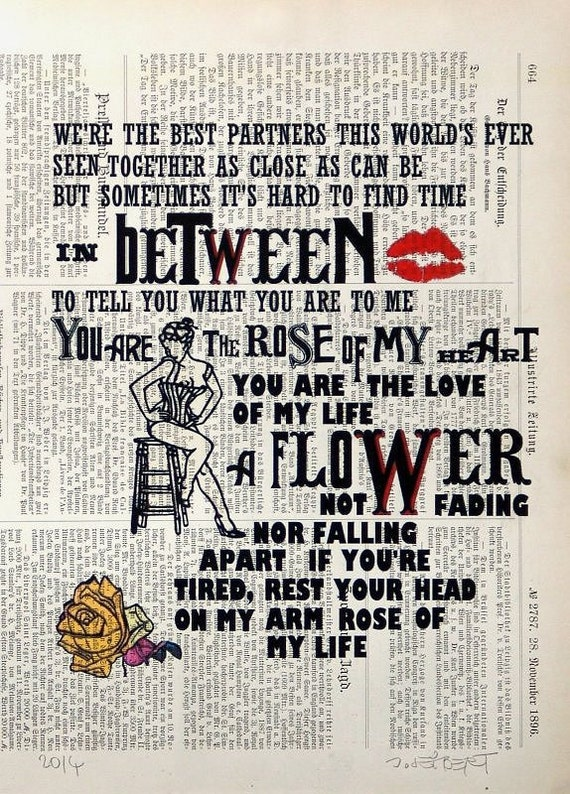 ROSE  giclee print poster mixed media painting illustration drawing typography