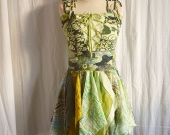 Ready to ship Green Mori Girl Dress Ready to Ship Bridesmaid Dress in Shadows of Green Tattered and Romantic Shabby Chic Eco Friendly Style