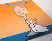 Champagne Cute Drunk Bunny Wedding Congratulations Blank Greeting Card