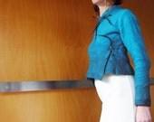 Blue top / jacket, felted wool, XS, natural designer clothing, funky women's clothing, eco friendly clothing, sustainable clothing, fashion