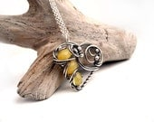 Yellow Chalcedony Heart necklace, Silver necklace for Valentine's Day, yellow Love necklace,honey exclusive necklace for her with Chalcedony - NurrgulaJewellery
