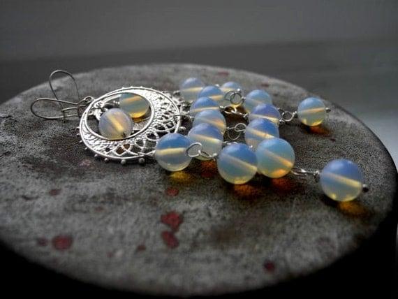 Opalite Silver Earrings - Wedding Bridal Jewelry - White Opalescent Dange Earrings - Chandalier Long Romantic - Bride Earrings