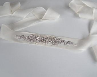 Bridal crystal belt sash in silk organza or Duchess satin, Bridal belt sash, Crystal sash, Beaded Crystal Rhinestone Sash, Wedding Sash
