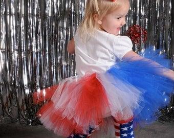 4th of July Tutu:  American Flag  Tutu - Red, White, & Blue Patriotic Tutu - Sizes Girls 5 6 7 8