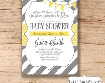 Baby Shower Invitation / Yellow Grey Baby Shower invitation / Yellow/Grey Invitation