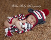 Baby Monkey Hat - Baby Boy Hat - Baby Girl Hat - Baby Hat Grey, Great Details - U Chose Accent Color
