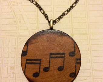 Music Notes - Hand-Stained Wood Pendant Necklace // Antique Bronze Long Chain // Gift for Her