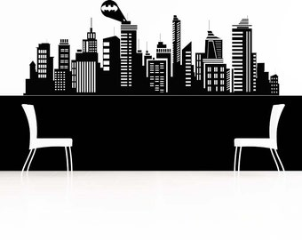 Batman Decal, Gotham City Wall Decal, Dark Knight, Superher Skyline, Super  Hero Part 74
