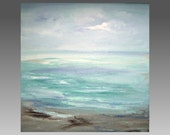 Ocean Beach Baby Blue Lavender Abstract - Seascape Sea Me Acrylic Painting - Sherischart -12x12x1