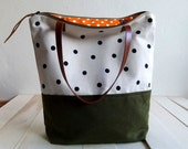 Large zippered Waxed Canvas Tote hand painted dotted canvas Brown Leather Straps Handmade Shoulder Tote Bag
