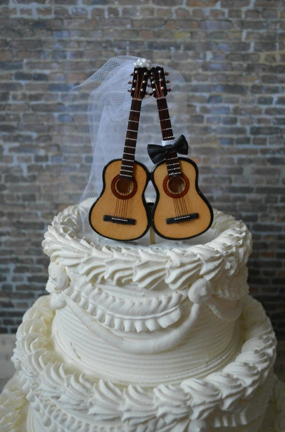guitar wedding cake toppers acoustic guitar wedding ivory cake topper musician guitar 15019