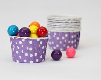 Purple Polka Dot Baking Cups Mini Ice Cream Cups Mini Muffin Cups Purple Party Supplies Girls Birthday Party Kids Candy Cups Nut / Set of 10