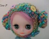 Middie blythe  Hand knit hat, Tuppi helmet,  slouchy beanie hat blythe hat beret raimbow big head doll